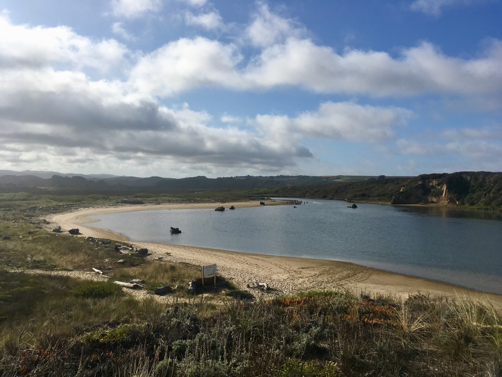 View looking down from Highway 1 into the mouth of Butano/Pescadero Marsh - September 2019