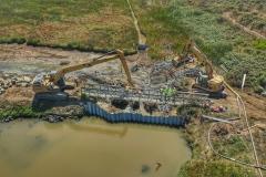 Sandbag dam removal, August 2019