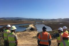Hanford ARC staff look over at the pedestrian bridge where a new water control feature was installed to help improve the water quality of the side channel. October 2019