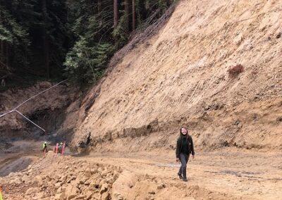 DG Week 11: Hannah Ormshaw walking from excavated crossing.
