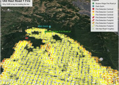 DG Week 15: CZU Fire: Map closeup of Old Haul Rd (roughly drawn, light green line) (Fri, 8/21/2020)