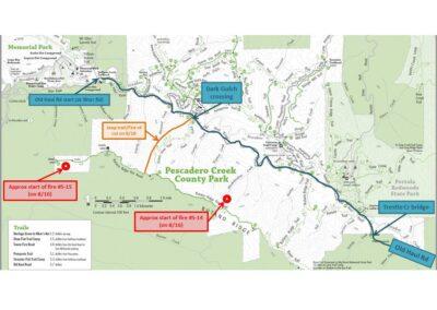 DG Week 15: CZU Fires: Pescadero Cr Park Map with approx fire start locations