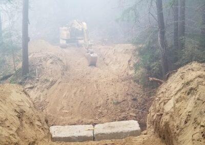 DG Week 16: CZU Fire: Trestle Cr Bridge rebuild on Old Haul Road, 1st abutment (Sun, 8/23/20)