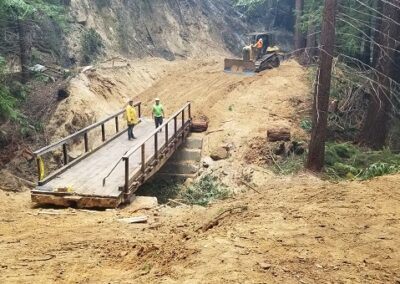DG Week 16: CZU Fire: Trestle Cr Bridge on Old Haul Road. Bridge in place  (Tues, 8/25/20)