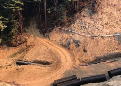 DG Week 15: CZU Fire: Temp access across Dark Gulch site to skid road cut up to Old Haul Road (Fri, 8/21/20)