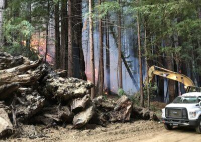 DG Week 16: CZU Fires: Creating fire break around slash pile at Dark Gulch (Sat, 8/22/2020)
