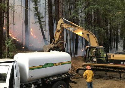 DG Week 16: CZU Fires: Making fire break around slash pile at Dark Gulch (Sat, 8/22/2020)
