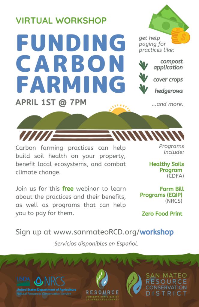 Flyer for Virtual Workshop: Funding Carbon Farming
